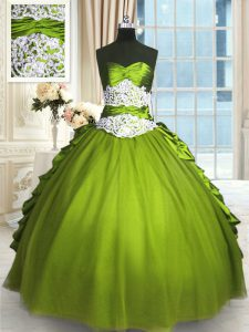Olive Green Sleeveless Beading and Lace and Appliques and Ruching Floor Length Sweet 16 Dresses
