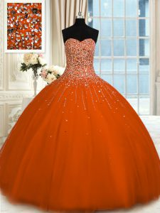 Sweetheart Sleeveless Lace Up Quinceanera Dresses Rust Red Tulle