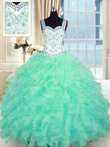 Turquoise Lace Up Sweet 16 Dress Beading and Appliques and Ruffles Sleeveless Floor Length