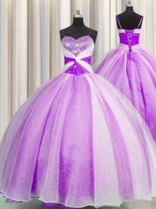 Designer Spaghetti Straps Organza Sleeveless Floor Length Quinceanera Gown and Beading and Sequins and Ruching