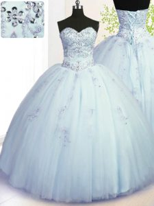 Sleeveless Lace Up Floor Length Beading and Appliques 15th Birthday Dress