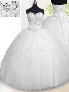 Gorgeous Sweetheart Sleeveless 15th Birthday Dress Floor Length Beading and Appliques White Tulle