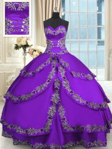 Stunning Purple Sweetheart Neckline Beading and Appliques and Ruffled Layers Ball Gown Prom Dress Sleeveless Lace Up