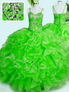 Super Spaghetti Straps Sleeveless Lace Up 15th Birthday Dress Organza