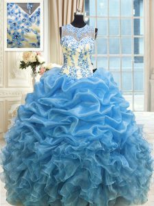 Scoop Sleeveless Organza Floor Length Zipper 15th Birthday Dress in Baby Blue with Beading and Ruffles