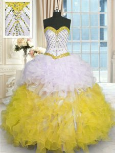Yellow And White Sleeveless Organza Lace Up Ball Gown Prom Dress for Military Ball and Sweet 16 and Quinceanera