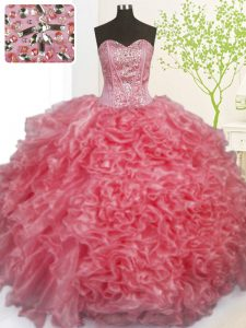 Rose Pink Sleeveless Beading and Ruffles and Pick Ups Floor Length Quinceanera Dress