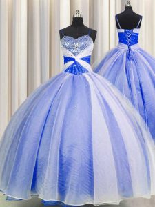 Sequins Ball Gowns 15 Quinceanera Dress Blue And White Spaghetti Straps Organza Sleeveless Floor Length Lace Up