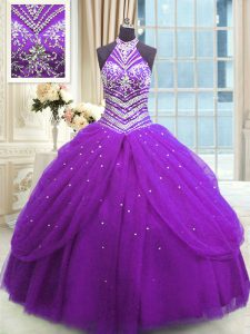 Sophisticated Purple Sleeveless Floor Length Beading Lace Up Ball Gown Prom Dress