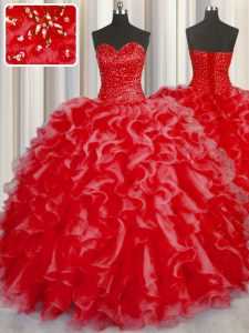 Stunning Halter Top Sleeveless Sweet 16 Quinceanera Dress Floor Length Beading and Ruffles Coral Red Organza