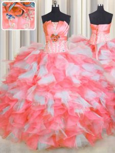Strapless Sleeveless Organza Quinceanera Gowns Beading and Ruffles and Hand Made Flower Lace Up