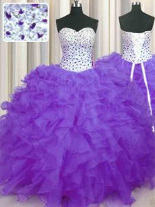 Beading and Ruffles Quinceanera Dress Lavender Lace Up Sleeveless Floor Length
