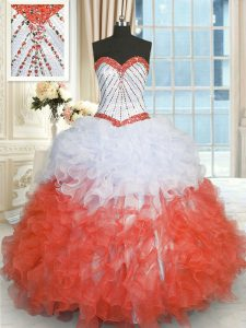 New Arrival White And Red Ball Gowns Beading and Ruffles Vestidos de Quinceanera Lace Up Organza Sleeveless Floor Length