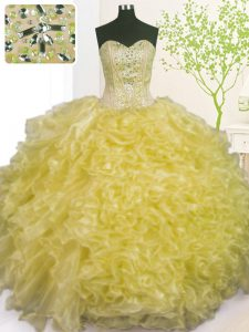 Glittering Light Yellow Sweetheart Neckline Beading and Ruffles and Pick Ups Quinceanera Gown Sleeveless Lace Up