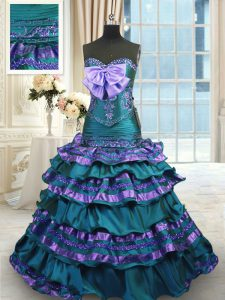 Peacock Green Sweetheart Neckline Appliques and Ruffled Layers and Bowknot Sweet 16 Dress Sleeveless Lace Up