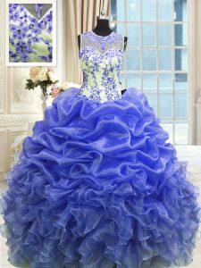 Floor Length Blue Quinceanera Dresses Scoop Sleeveless Zipper