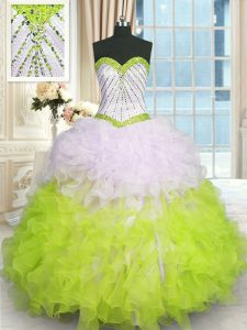 Vintage Multi-color Ball Gowns Organza Sweetheart Sleeveless Beading and Ruffles Floor Length Lace Up Quinceanera Gown