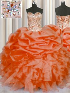 Sweetheart Sleeveless Quince Ball Gowns Floor Length Beading and Ruffles and Pick Ups Orange Red Organza