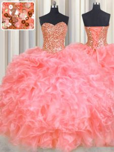 Stunning Halter Top Sleeveless Floor Length Beading and Ruffles Lace Up Quinceanera Gown with Watermelon Red