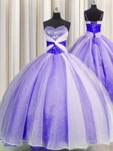 Top Selling Spaghetti Straps Lavender Lace Up 15th Birthday Dress Beading and Sequins and Ruching Sleeveless Floor Length
