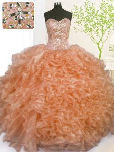 Orange Sweetheart Neckline Beading and Ruffles and Pick Ups 15 Quinceanera Dress Sleeveless Lace Up