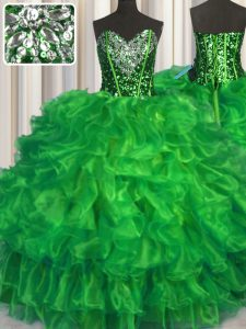 Sleeveless Organza Floor Length Lace Up 15 Quinceanera Dress in with Beading and Ruffles