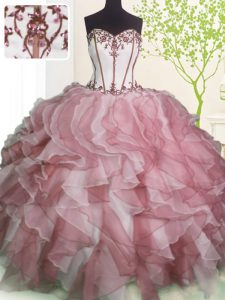 Dynamic Pink And White Ball Gowns Ruffles 15 Quinceanera Dress Lace Up Organza Sleeveless Floor Length