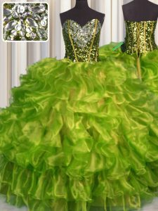 Fancy Sweetheart Sleeveless Quince Ball Gowns Floor Length Beading and Ruffles Olive Green Organza