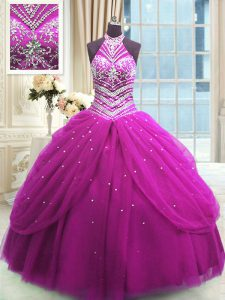 Glorious Beading 15th Birthday Dress Fuchsia Lace Up Sleeveless Floor Length