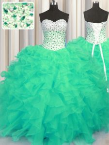Comfortable Beading and Ruffles Quinceanera Dress Turquoise Lace Up Sleeveless Floor Length