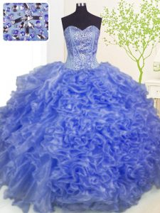 Best Pick Ups Floor Length Ball Gowns Sleeveless Blue Vestidos de Quinceanera Lace Up