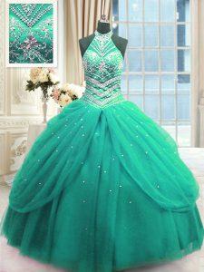 Custom Designed Sleeveless Floor Length Beading Lace Up Sweet 16 Dress with Turquoise