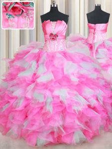 Pink And White Ball Gowns Organza Strapless Sleeveless Beading and Ruffles and Hand Made Flower Floor Length Lace Up Vestidos de Quinceanera