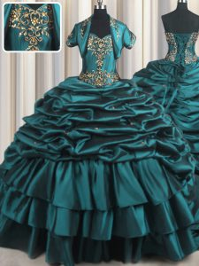 Fabulous Sleeveless With Train Beading and Appliques and Pick Ups Lace Up 15 Quinceanera Dress with Teal Brush Train