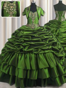 Lovely Pick Ups Brush Train Ball Gowns 15th Birthday Dress Green Sweetheart Taffeta Sleeveless With Train Lace Up