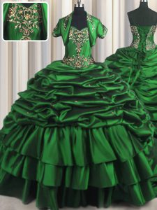 With Train Dark Green Quinceanera Gown Taffeta Brush Train Sleeveless Beading and Appliques and Pick Ups