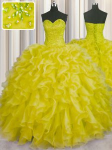 Sweet Yellow Sweetheart Lace Up Beading and Ruffles Quinceanera Dresses Sleeveless