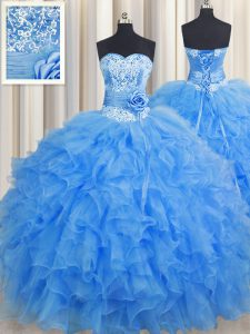 Handcrafted Flower Sweetheart Sleeveless Lace Up 15th Birthday Dress Baby Blue Organza