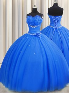 Handcrafted Flower Blue Quinceanera Dresses Military Ball and Sweet 16 and Quinceanera with Beading and Sequins and Hand Made Flower Strapless Sleeveless Lace Up