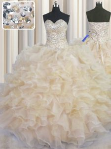 Glorious Organza Sweetheart Sleeveless Lace Up Beading and Ruffles Quinceanera Dresses in Champagne