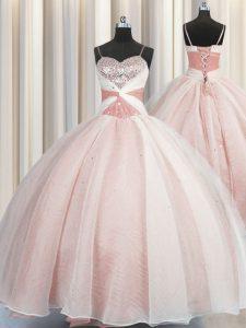 Customized Spaghetti Straps Floor Length Pink Sweet 16 Dress Organza Sleeveless Beading