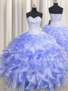 Admirable Visible Boning Zipper Up Floor Length Zipper 15th Birthday Dress Lavender for Military Ball and Sweet 16 and Quinceanera with Beading and Ruffles