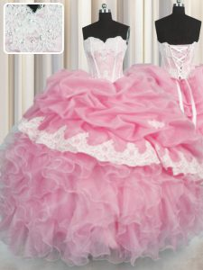 Wonderful Pick Ups Sweetheart Sleeveless Lace Up Quinceanera Dresses Rose Pink Organza