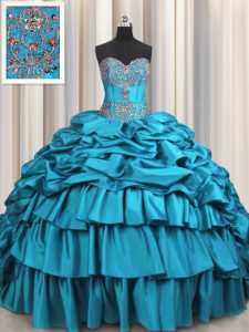 Lace Up Quince Ball Gowns Teal for Military Ball and Sweet 16 and Quinceanera with Beading and Embroidery and Ruffled Layers and Pick Ups Brush Train
