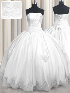 Affordable Sleeveless Beading and Appliques Lace Up Quinceanera Gowns