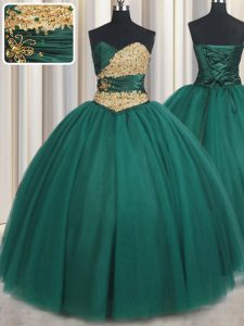 Sexy Floor Length Peacock Green Sweet 16 Dress Tulle Sleeveless Beading and Appliques