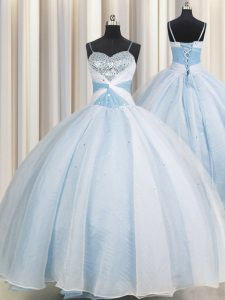 Traditional Ball Gowns 15 Quinceanera Dress Light Blue Spaghetti Straps Organza Sleeveless Floor Length Lace Up
