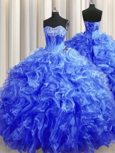 Royal Blue Ball Gowns Beading and Ruffles Sweet 16 Dress Lace Up Organza Sleeveless