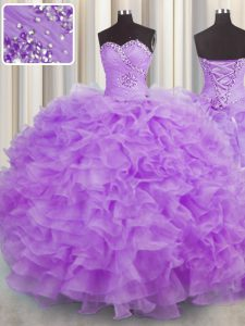 Lilac Quinceanera Gowns Military Ball and Sweet 16 and Quinceanera with Beading and Ruffles Sweetheart Sleeveless Lace Up