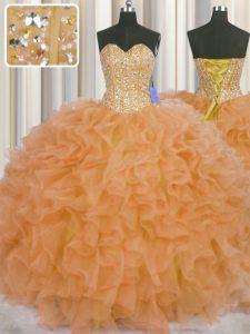 Excellent Visible Boning Orange Ball Gowns Sweetheart Sleeveless Organza Floor Length Lace Up Beading and Ruffles and Sashes ribbons Quinceanera Dresses